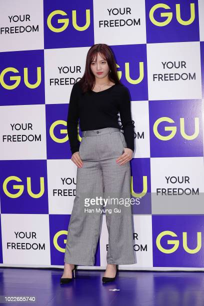 Joy of girl group Red Velvet attends during a promotional event for the GU on August 23 2018 in Seoul South Korea