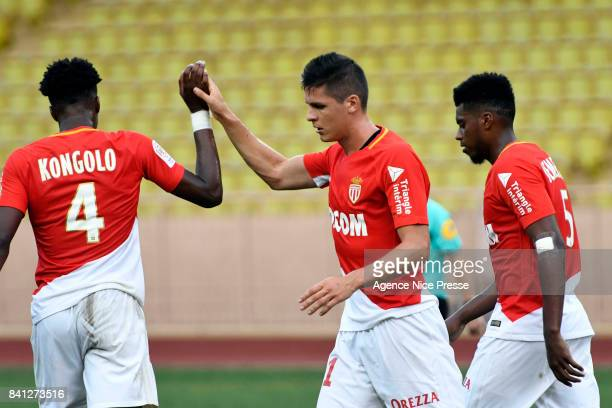 Joy of Guido Carrillo of Monaco during the friendly match between As Monaco and Nimes Olympique at Stade Louis II on August 31 2017 in Monaco Monaco