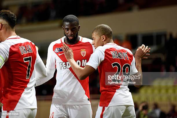 Joy of Kylian Mbappe of Monaco celebrates scoring his goal with Tiemoue Bakayoko during the French League Cup match between Monaco and Stade Rennais...