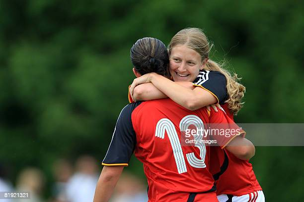 Joy of Lisa Schwab of Germany after her goal and Marie Pollmann during the Women's U19 European Championship match between Scotland and Germany at...