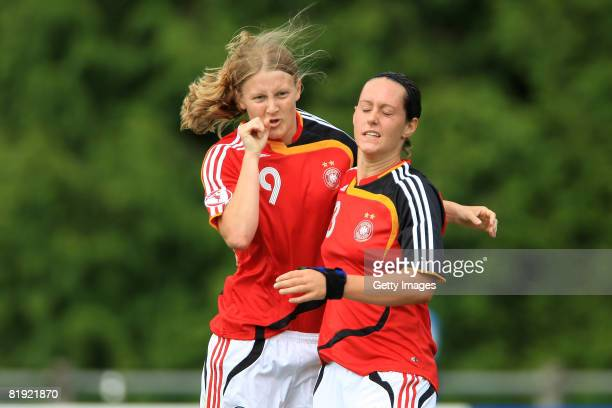 Joy of Marie Pollmann of Germany after her goal and Francensca Weber of Germany during the Women's U19 European Championship match between Scotland...