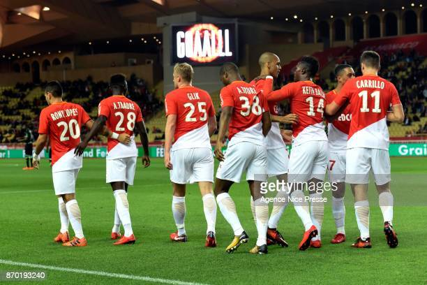 Joy of Monaco after the goal of Carrillo during the Ligue 1 match between AS Monaco and EA Guingamp at Stade Louis II on November 4 2017 in Monaco
