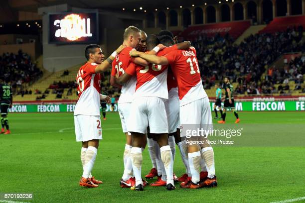 Joy of Monaco after the goal of Guido Carrillo during the Ligue 1 match between AS Monaco and EA Guingamp at Stade Louis II on November 4 2017 in...