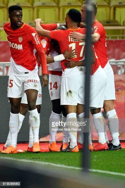 Joy of Monaco after the goal of Keita Balde during the Ligue 1 match between AS Monaco and Dijon FCO at Stade Louis II on February 16 2018 in Monaco