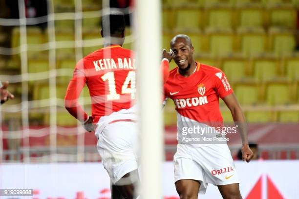Joy of Monaco after the goal of Keita Balde with Djibril Sidibe during the Ligue 1 match between AS Monaco and Dijon FCO at Stade Louis II on...