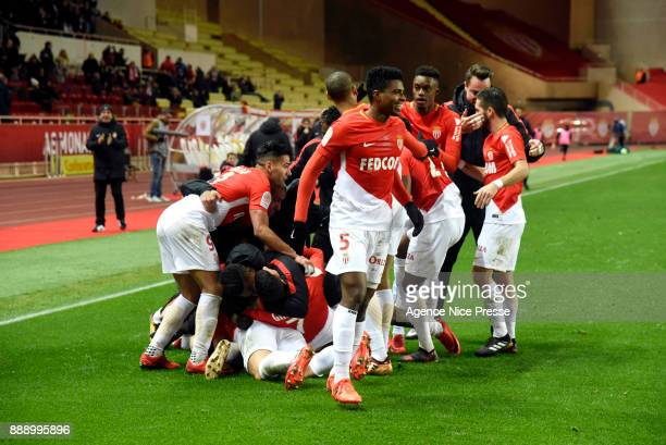Joy of Monaco after the third goal of Guido Carrillo during the Ligue 1 match between AS Monaco and Troyes Estac at Stade Louis II on December 9 2017...