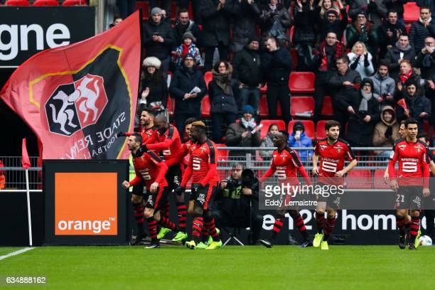Joy of Morgan Amalfitano of Rennes after scoring a goal during the Ligue 1 match between Stade Rennais and OGC Nice at Roazhon Park on February 12...