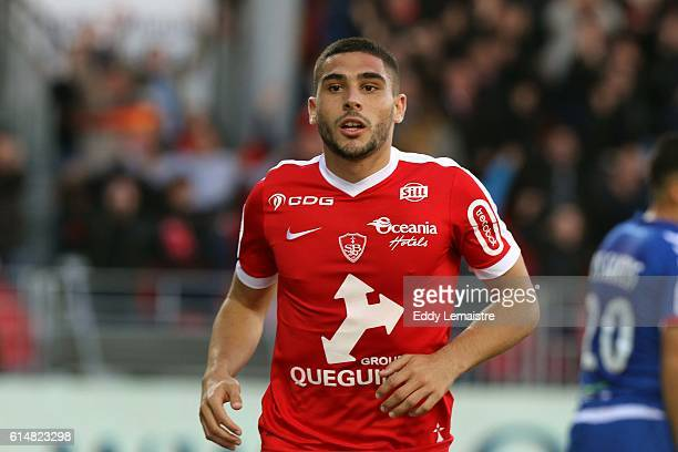 Joy of Neal Maupay of Brest after scoring during the Ligue 2 match between Stade Brestois 29 and RC Strasbourg Alsace on October 15 2016 in Brest...