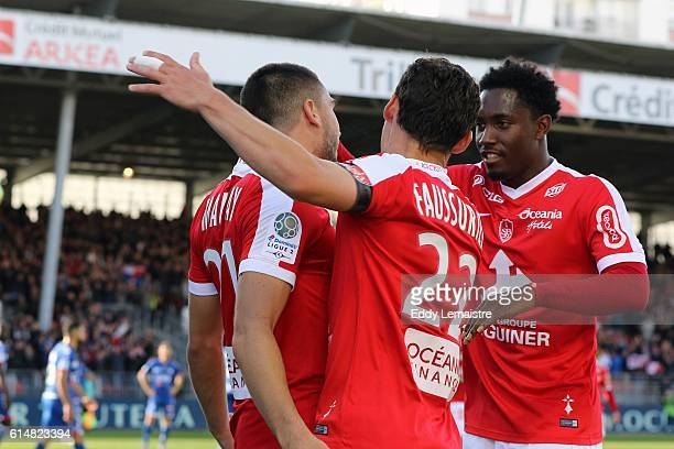 Joy of Neal Maupay of Brest after scoring with Julien Faussurier during the Ligue 2 match between Stade Brestois 29 and RC Strasbourg Alsace on...
