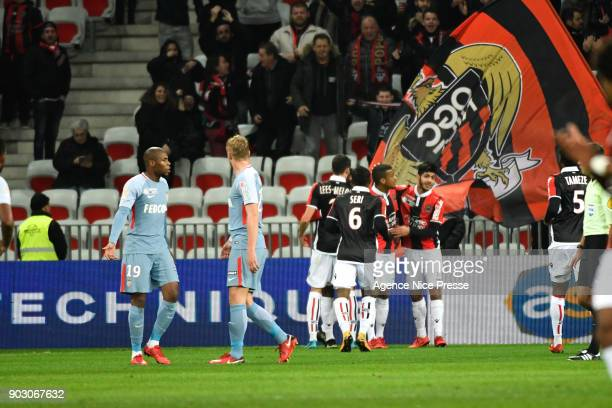 Joy of Nice during the League Cup match between Nice and Monaco at Allianz Riviera Stadium on January 9 2018 in Nice France