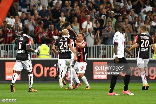 Joy of Remi Walter and teammates of Nice during the Ligue 1 match between OGC Nice and EA Guingamp at Allianz Riviera on August 19 2017 in Nice