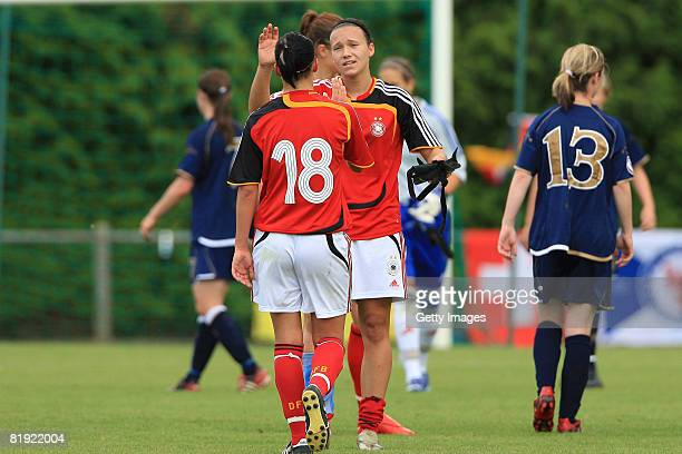 Joy of Selina Wagner and Josephine Henning of Germany during the Women's U19 European Championship match between Scotland and Germany at the Georges...