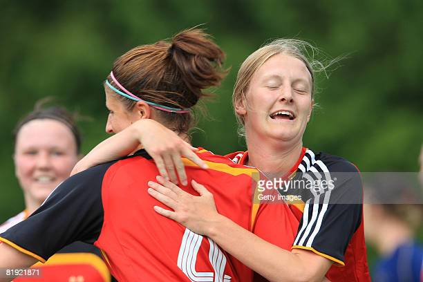 Joy of Stefanie Mirlach and Marie Pollmann of Germany during the Women's U19 European Championship match between Scotland and Germany at the Georges...