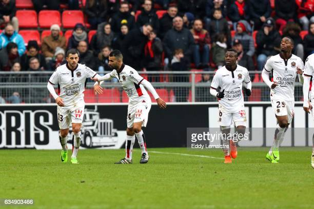 Joy of Valentin Eysseric of Nice after scoring the goal of equalization with Younes Belhanda during the Ligue 1 match between Stade Rennais and OGC...
