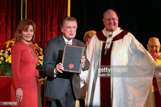 Joy Philbin, Regis Philbin, and Archbishop Timothy M. Dolan attend the Regis Philbin Cardinal Hayes High School Auditorium Dedication at Cardinal...