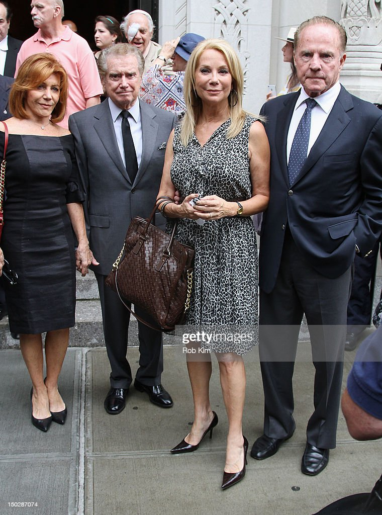 Joy Philbin, Regis Philbin, Kathy Lee Gifford and Frank Gifford attend the funeral service for Marvin Hamlisch at Temple Emanu-El on August 14, 2012 in New York City. Hamlisch died in Los Angeles on August 6, 2012 at age 68. In his long and distinguished career, the music man had received a Pulitzer Prize as well as the Oscar, Tony, Emmy and GRAMMY.
