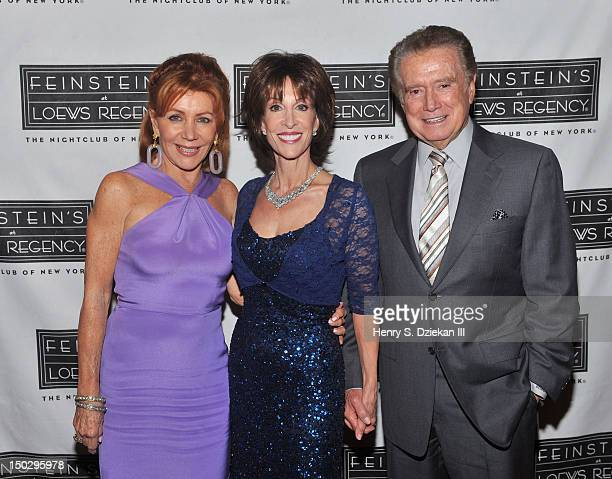 Joy Philbin singer Deana Martin and Regis Philbin backstage at Feinstein's at Loews Regency Ballroom on August 14 2012 in New York City