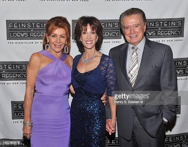 Joy Philbin, singer Deana Martin and Regis Philbin backstage at Feinstein's at Loews Regency Ballroom on August 14, 2012 in New York City.