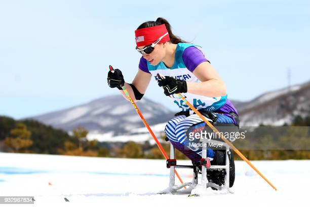 Joy Rondeau of the United States competes in the Women's 5 km Sitting Classic at Alpensia Biathlon Centre on Day 8 of the PyeongChang 2018 Paralympic...