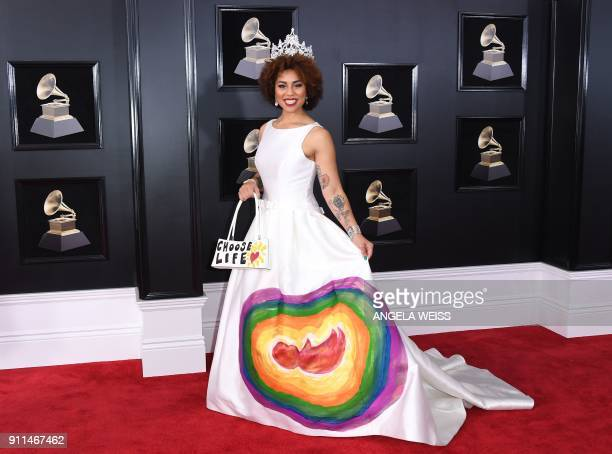 Joy Villa arrives for the 60th Grammy Awards on January 28 in New York.