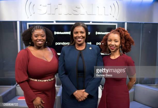 Joy Williams, Attorney General Letitia James and Lurie Daniel Favors, Esq. On SiriusXM Urban View's Sunday Civics at SiriusXM Studios on February 12,...