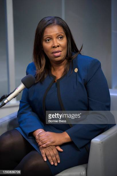 Joy Williams interviews Attorney General Letitia James on SiriusXM Urban View's Sunday Civics at SiriusXM Studios on February 12, 2020 in New York...