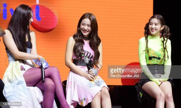 Joy, Yeri, Irene of Red Velvet attend Red Velvet's New Mini Album 'The ReVe Festival: Day 1' Release Showcase at Blue Square on June 19, 2019 in...