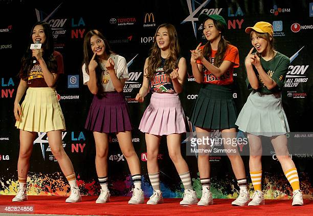 Joy Yeri Wendy Seulgi and Irene of South Korean girl group Red Velvet attend KCON 2015 at the Los Angeles Convention Center on August 2 2015 in Los...