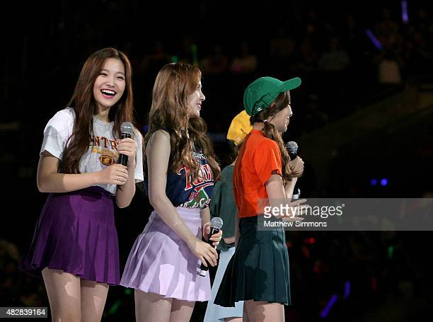 Joy Yeri Wendy Seulgi and Irene of South Korean girl group Red Velvet perform onstage at KCON 2015 at the Staples Center on August 2 2015 in Los...