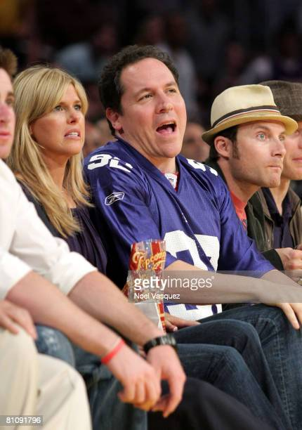 Joya Tillem and Jon Favreau attend the Los Angeles Lakers against Utah Jazz playoff game at the Staples Center on May 14 2008 in Los Angeles...