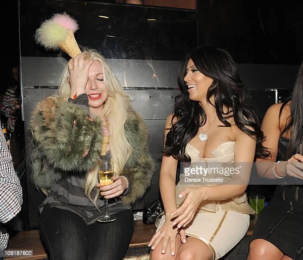 Joyce Bonelli and Kim Kardashian attend Marquee nightclub at the Cosmopolitan on February 14 2011 in Las Vegas Nevada