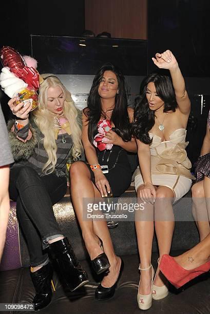 Joyce Bonelli Carla DiBello and Kim Kardashian attend Marquee nightclub at the Cosmopolitan on February 14 2011 in Las Vegas Nevada