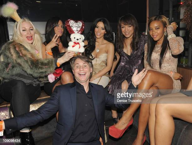 Joyce Bonelli Carla DiBello Kim Kardashian and Jason Binn attend Marquee nightclub at the Cosmopolitan on February 14 2011 in Las Vegas Nevada