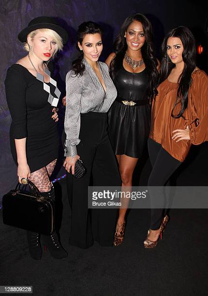 Joyce Bonelli Kim Kardashian La La Anthony and Carla DiBello pose backstage at the hit play 'Love Loss and What I Wore' at The West Side Theater on...