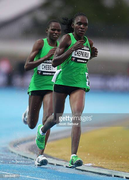 Joyce Chepkirui and Emily Chebet of Kenya compete in the Zatopek 10 Womens 10000m during the 2011 Zatopek Classic at the Victorian Athletics Centre...