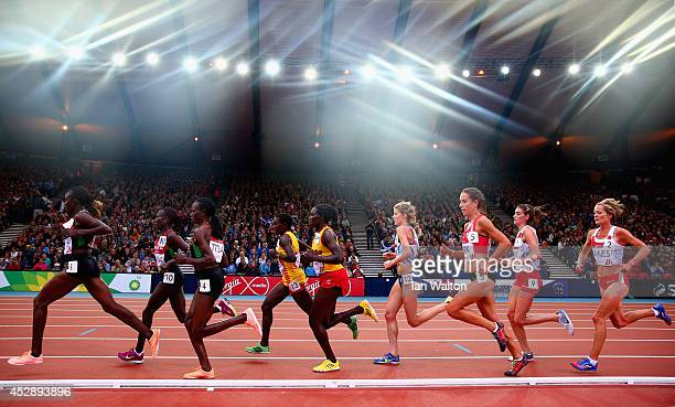 Joyce Chepkirui of Kenya leads the pack in the Women's 10000 metres final at Hampden Park during day six of the Glasgow 2014 Commonwealth Games on...