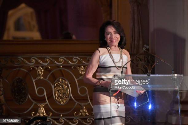 Joyce F Brown speaks onstage during the 8th Annual Elly Awards hosted by the Women's Forum of New York at The Plaza Hotel on June 18 2018 in New York...