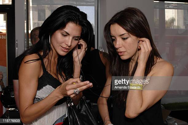 Joyce Giraud and Claudia Salinas attend the Samsung booth at Melanie Segal's Hollywood Platinum Lounge at The W Hotel on May 29 2008 in Hollywood...