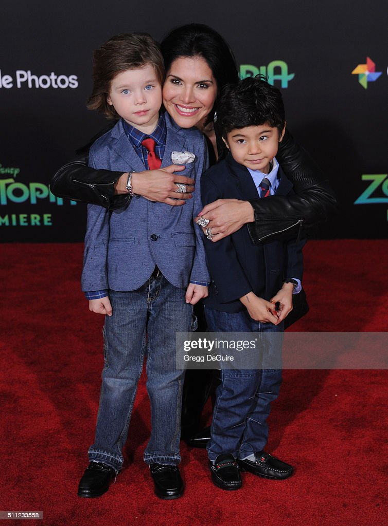 Joyce Giraud, Valentino Ohoven and Leonardo Ohoven arrive at the premiere of Walt Disney Animation Studios' 'Zootopia' at the El Capitan Theatre on February 17, 2016 in Hollywood, California.