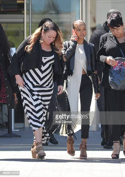Joyce Hawkins and Karrueche leave the H Carl Moultrie 1 Courthouse after it was announced the start of Chris Brown's assault trial is to be pushed...