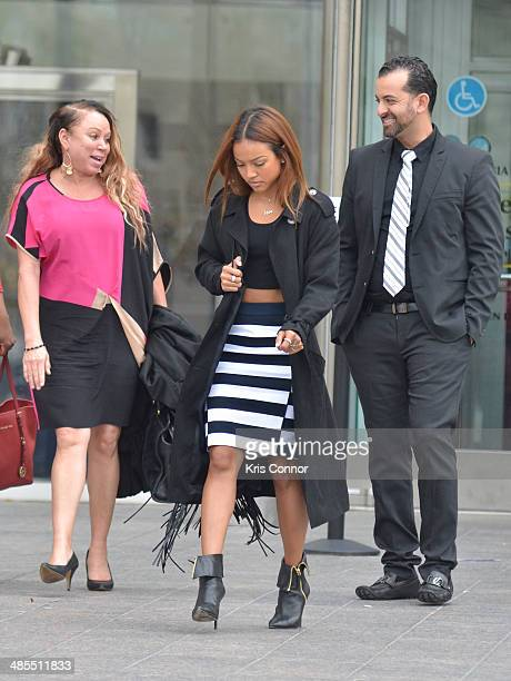 Joyce Hawkins and Karrueche leave the H Carl Moultrie I Superior Court House where the Chris Brown and his bodyguard Christopher Hollosy assualt...
