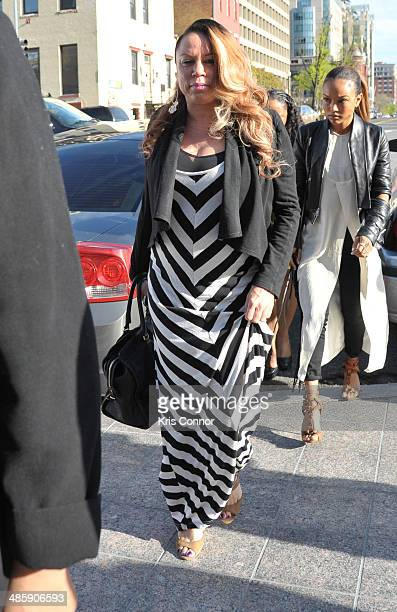 Joyce Hawkins arrives at the H Carl Moultrie 1 Courthouse for the start of the Chris Brown's assault trial on April 21 2014 in Washington DC Singer...