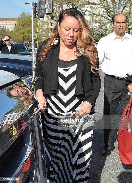 Joyce Hawkins arrives at the H. Carl Moultrie 1 Courthouse for the start of the Chris Brown's assault trial on April 21, 2014 in Washington, DC....
