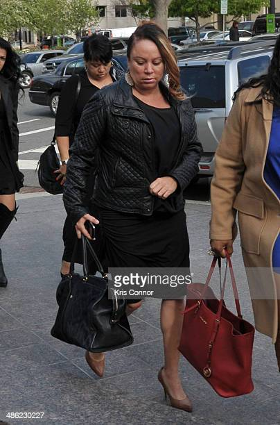 Joyce Hawkins arrives at the H Carl Moultrie 1 Courthouse for the start of the Chris Brown's assault trial on April 23 2014 in Washington DC