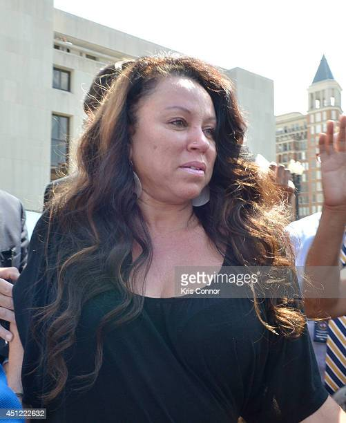 Joyce Hawkins leaves court where her son Chris Brown rejected a plea deal that would have found him guilty of simple assault on June 25 2014 in...