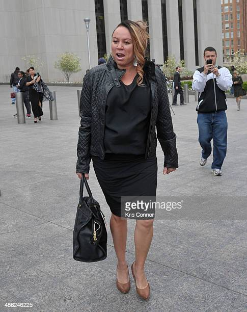 Joyce Hawkins leaves the H Carl Moultrie 1 Courthouse after her son Chris Brown's assault trial has been posponed until June 25th due to his...