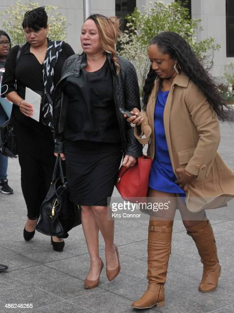 Joyce Hawkins leaves the H. Carl Moultrie 1 Courthouse after her son Chris Brown's assault trial has been posponed until June 25th due to his...