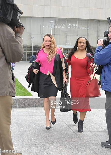 Joyce Hawkins leaves the H Carl Moultrie I Superior Court House where her son Chris Brown and his bodyguard Christopher Hollosy assualt trials are...