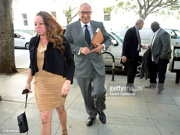 Joyce Hawkins mother of R&B singer Chris Brown and attorney Mark Geragos arrive for a probation violation hearing at Los Angeles Superior Court on...