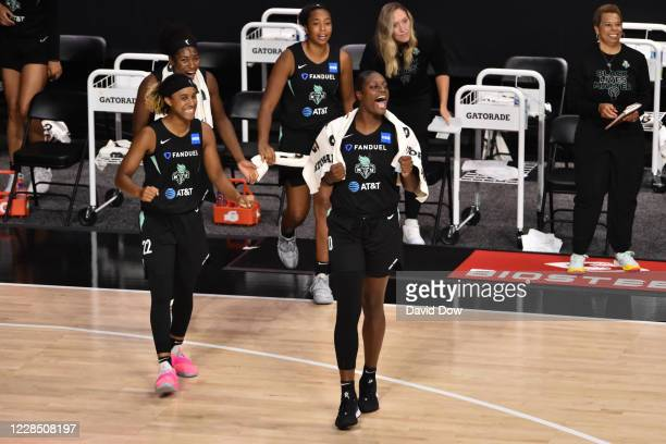 Joyce Holmes of the New York Liberty celebrates during the game against the Dallas Wings on September 13, 2020 at Feld Entertainment Center in...